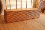 天然木格子テレビボード