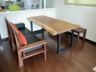 モンキーポッド一枚板テーブル×ウォールナットベンチ