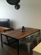 ウォールナット×鉄脚テーブル