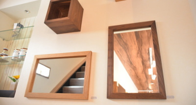 無垢壁掛け鏡(ミラー)ウォールナット
