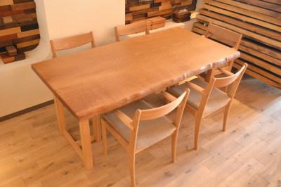 希少国産ミズナラ(楢)の一枚板テーブル