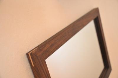 無垢人気壁掛け鏡(ミラー)ウォールナット