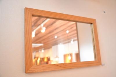 無垢人気壁掛け鏡(ミラー)ケヤキ