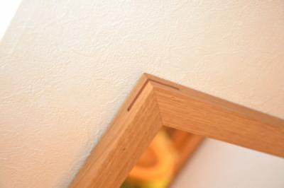 無垢人気壁掛け鏡(ミラー)ホワイトオーク