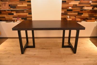 ウエンジ一枚板 アイアン脚テーブル
