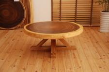 無垢テーブル・モンキーポッド輪切り一枚板木製脚01