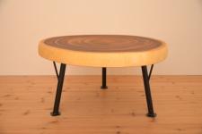 無垢テーブル・モンキーポッド輪切り一枚板アイアン脚01