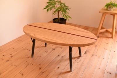 インダストリアル 無垢ローテーブル