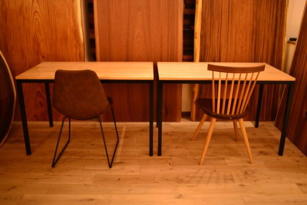 無垢オーダー家具クリ×アイアン脚テーブル