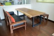 モンキーポッド一枚板テーブル&ウォールナットベンチ