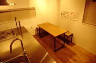 ホワイトオーク材アイアン脚テーブル&ベンチ01