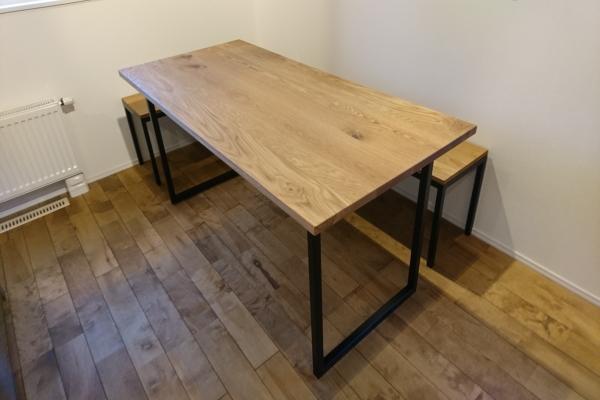 ホワイトオーク材アイアン脚テーブル&ベンチ