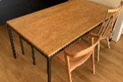 無垢クリ材アイアンテーブルベンチセット01