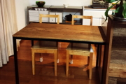 無垢クリ材アンティークアイアンテーブル01