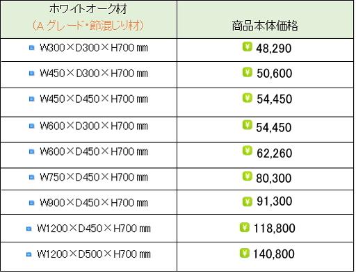 ホワイトオーク水槽台価格表①