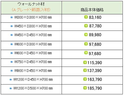 ウォールナット水槽台価格表②