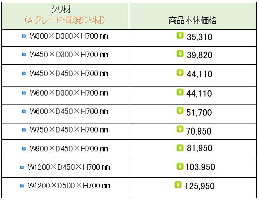クリ材水槽台価格表①