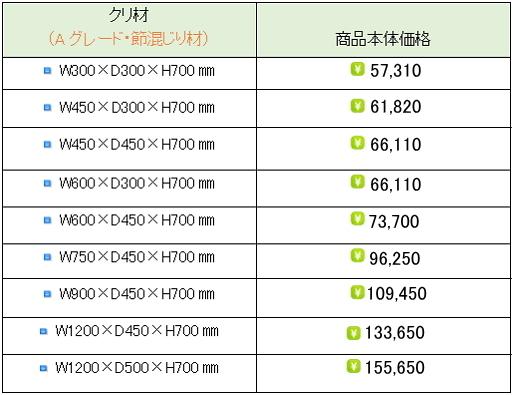 クリ材水槽台価格表②