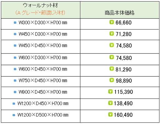 ウォールナット水槽台価格表①