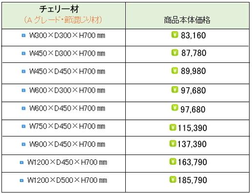 チェリー水槽台価格表②